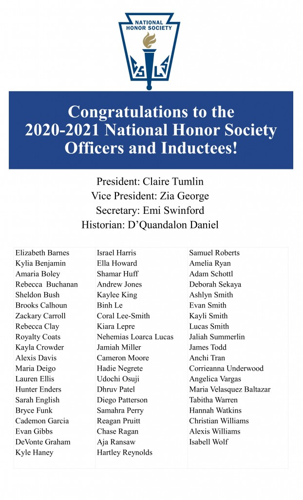 2020-2021 National Honor Society Officers and Inductees