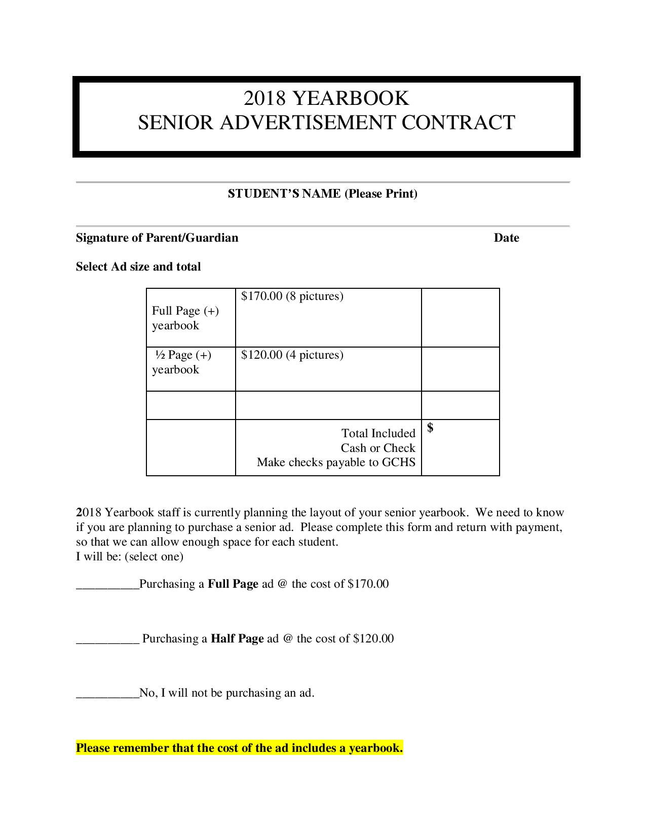Senior Yearbook Ads Announcement Page 2
