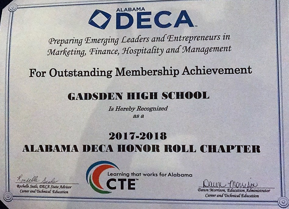 GCHS DECA Outstanding Chapter Recognition