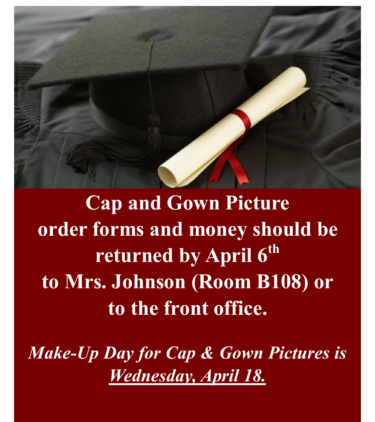 Senior Cap and Gown Picture Announcement
