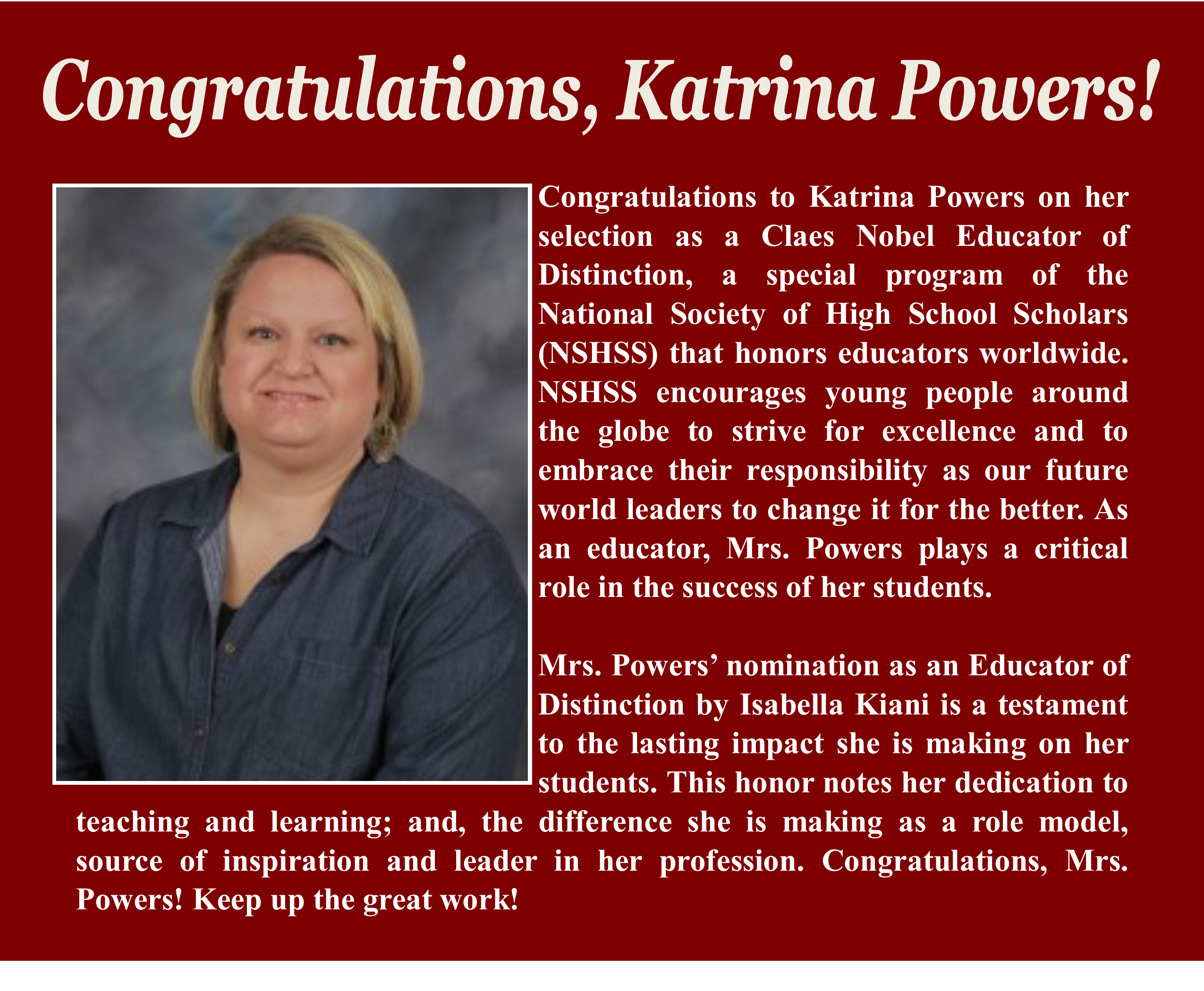 Congratulations to Katrina Powers for Claes Nobel Educator of Distinction