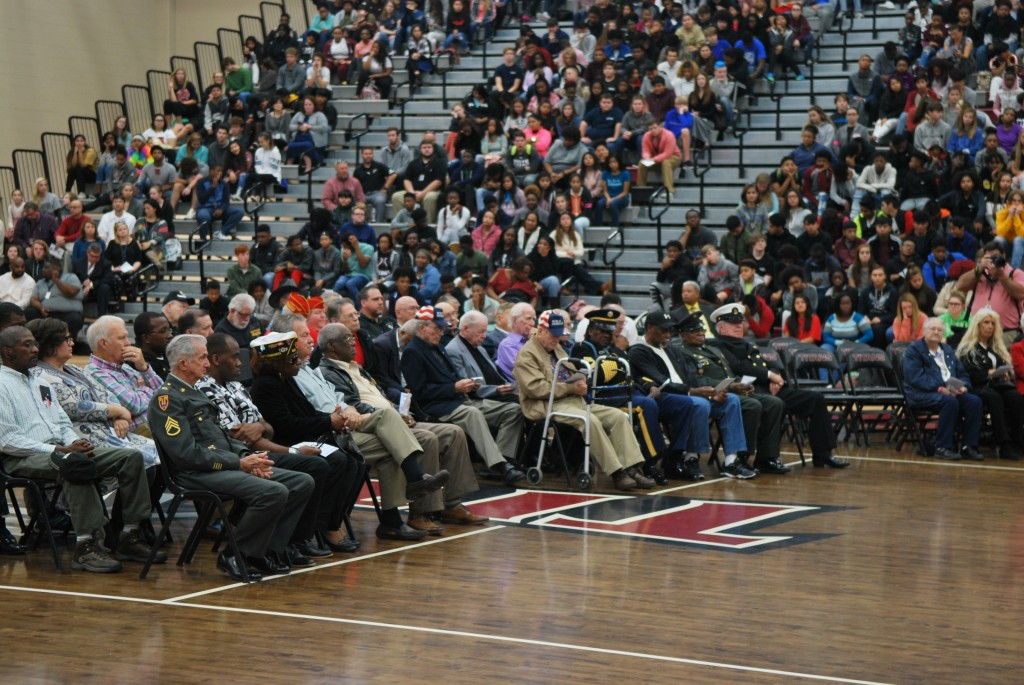 Veterans were honored by being seated in the center of the gymnasium floor.