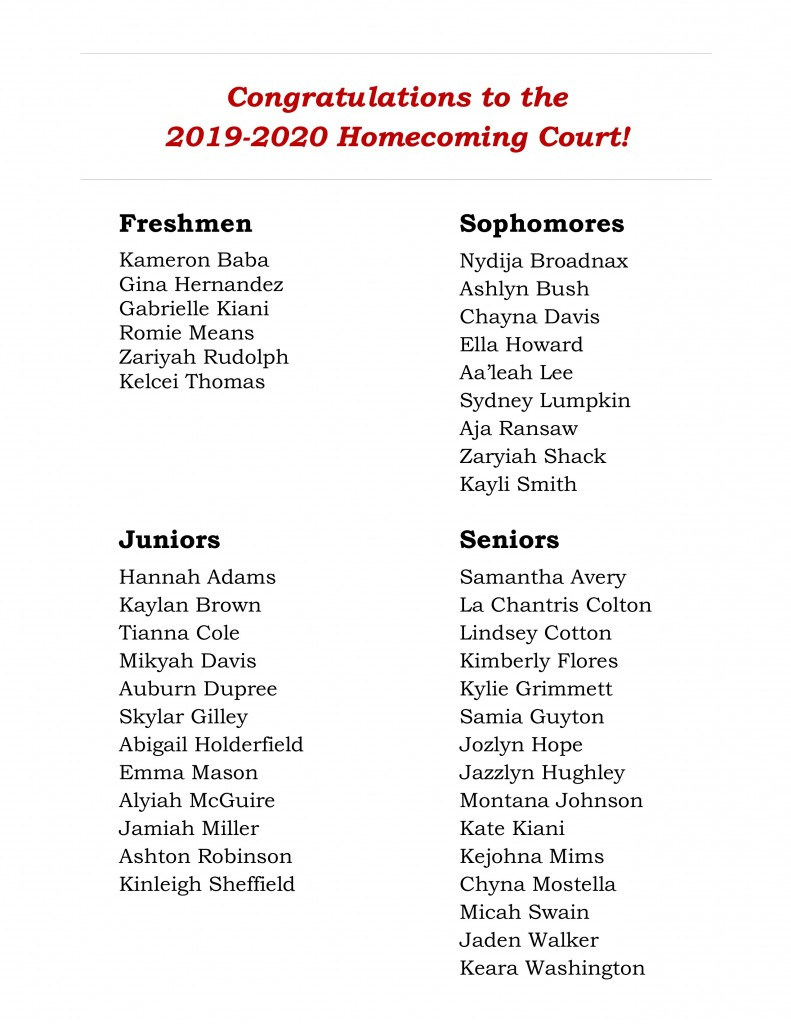 2019-2020 Homecoming Court Announcement
