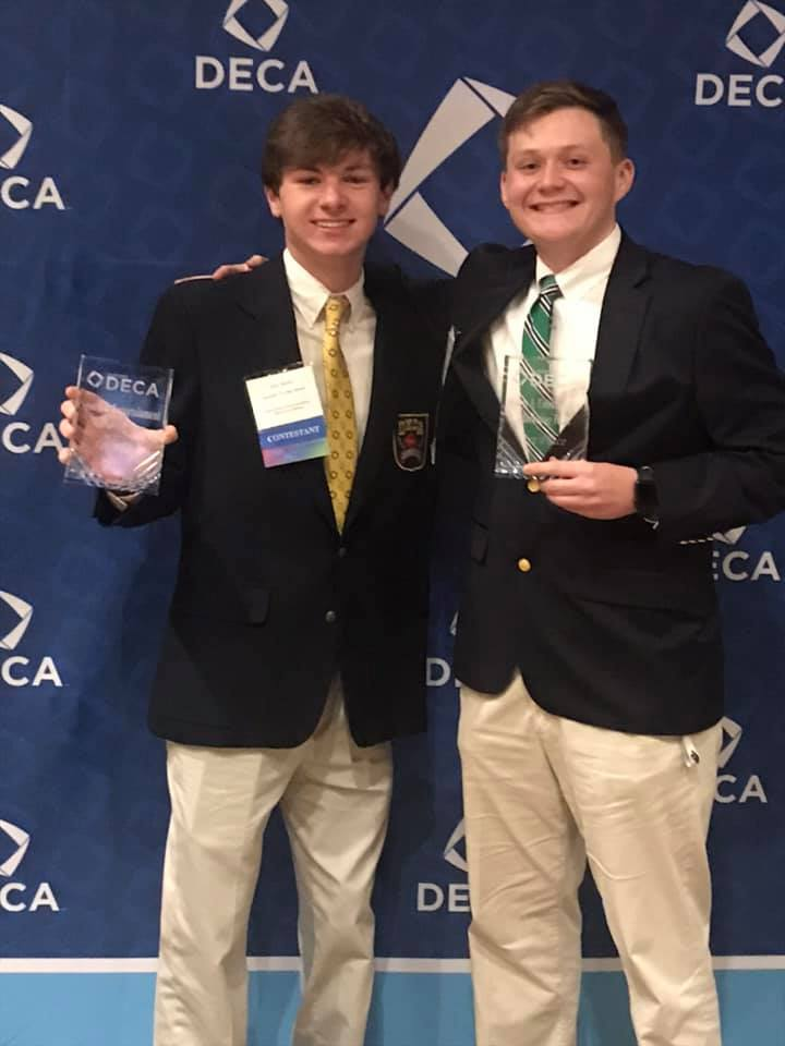 Jake Nolen and William Birchmore won First Place in Sports and Entertainment Marketing in the DECA Competition.