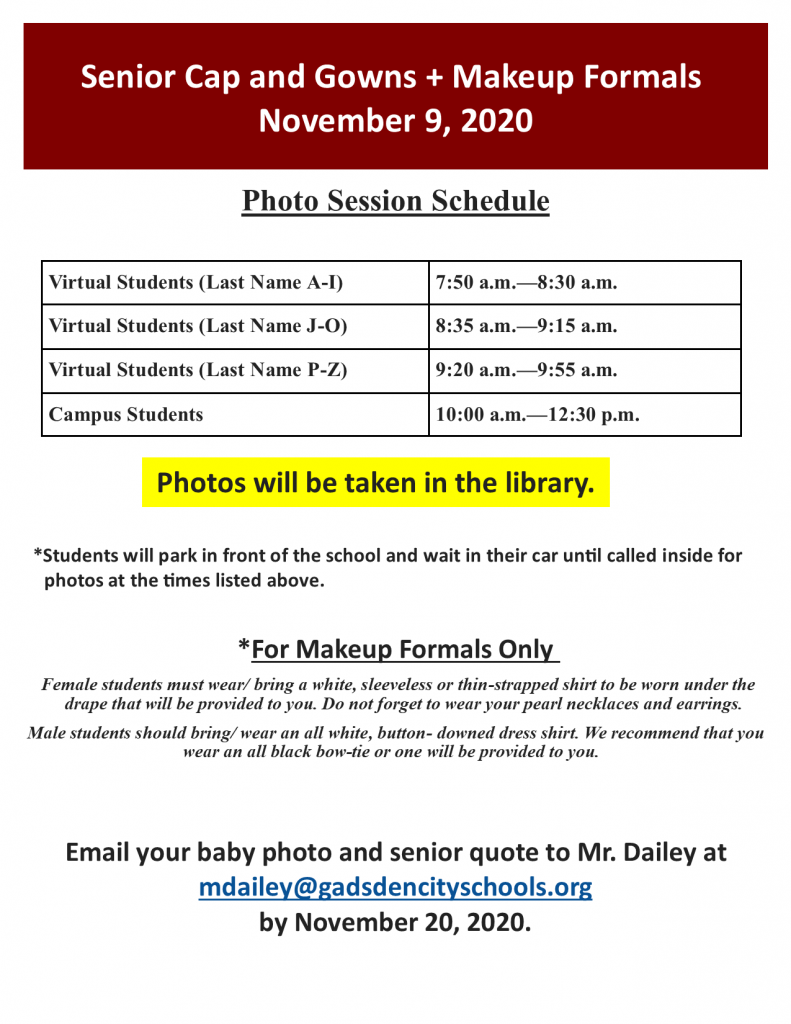 Cap & Gown Picture Day--November 9, 2020--GCHS Library