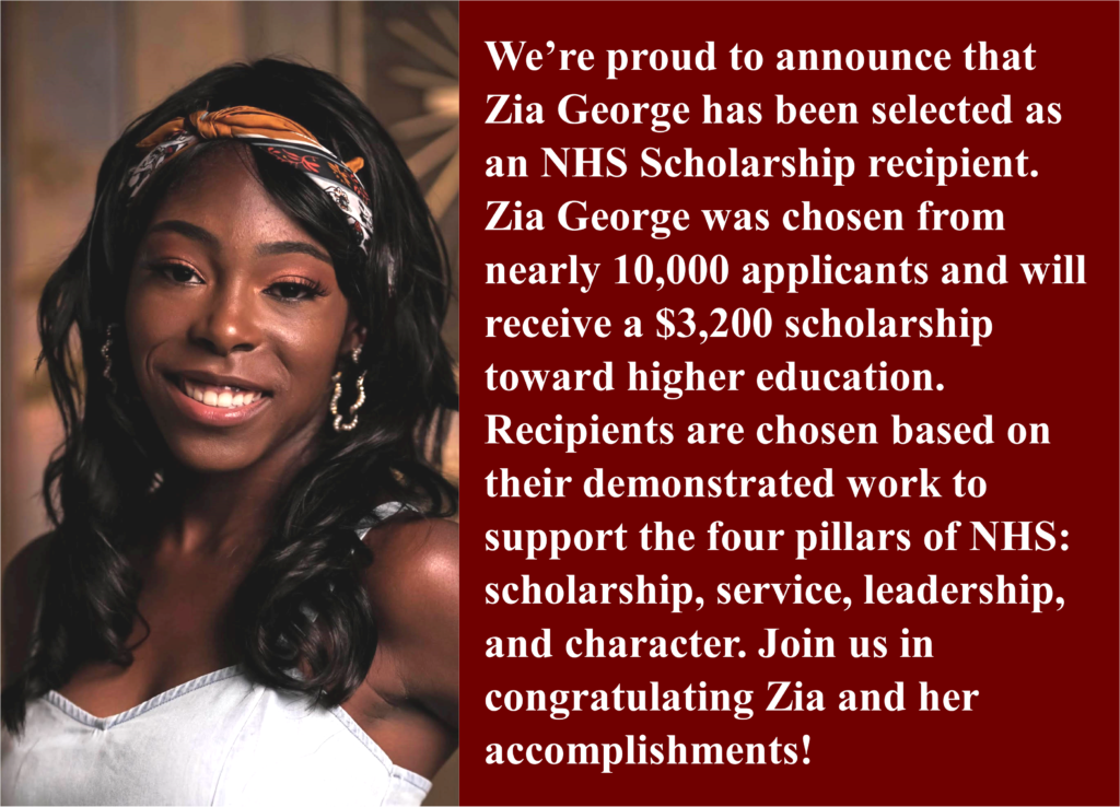 Zia George Wins NHS Scholarship